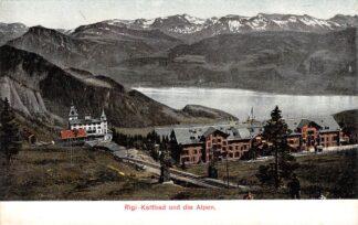 Ansichtkaart Zwitserland Vitznau - Rigi - Bahn Rigi Kaltbad und die Alpen Spoorwegen Treinen Schweiz Suisse Switzerland Europa HC16188