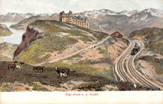 Ansichtkaart Zwitserland Vitznau - Rigi - Bahn Rigi-Kulm u.d. Alpen Spoorwegen Treinen Suisse Schweiz Switzerland Europa HC16189