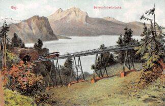 Ansichtkaart Zwitserland Vitznau - Rigi - Bahn Rigi Schnurtobelbrucke Spoorwegen Treinen Schweiz Suisse Switzerland Europa HC16190