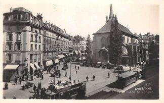 Ansichtkaart Zwitserland Lausanne Fotokaart Eglise et Place St. Francois Trams HC16198