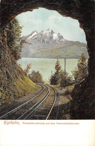 Ansichtkaart Zwitserland Rigi bahn Tunneldurchblick auf den Vierwaldstadtersee Spoorwegen Treinen Schweiz Switzerland Suisse Europa HC16201
