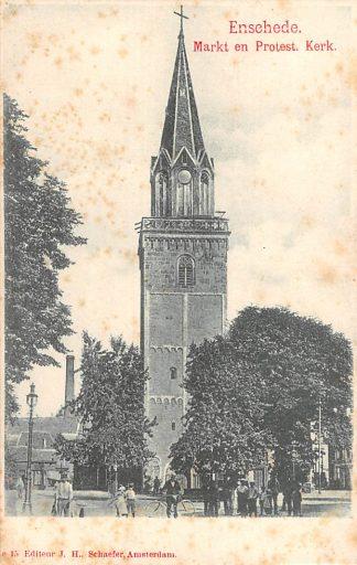 Ansichtkaart Enschede Markt en Protest. Kerk HC16210