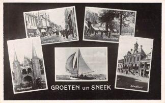 Ansichtkaart Sneek Groeten uit 1950 Oosterdijk Waterpoort Grootzand Stadhuis HC16258