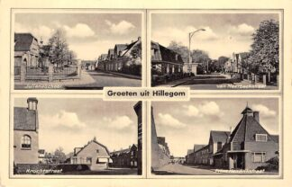 Ansichtkaart Hillegom Groeten uit 1943 Juliana school Kerk Krochtstraat Van Meerbeeckstraat Prins Hendrikstraat HC16259