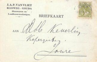 Ansichtkaart Gouda Kleiweg Reclame J.A.P. van Vliet IJzerwaren en Landbouwwerktuigen 1917 HC16267