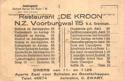 Ansichtkaart Amsterdam Reclame Restaurant De Kroon N.Z. Voorburgwal 115 Andere zijde Duitsland Buer i. W. Schloss Berge Deutschland Europa HC16290