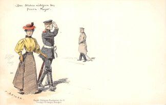 Ansichtkaart Duitsland Militair Das Stuben madchen des Herrn Major Humor Bayer. Soldaten-Postkarten Art. 4 Illustrator C. Becker Deutschland Europa HC16328