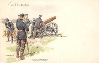 Ansichtkaart Duitsland Militair An der 15 Cm. Haubitze Soldaten-Postkarte Art. 12 Humor Illustrator C. Becker Deutschland Europa HC16330