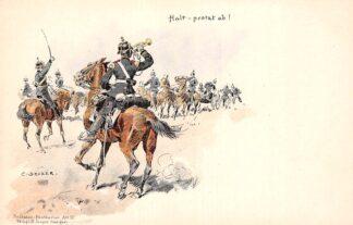 Ansichtkaart Duitsland Militair Halt - protzt ab! Humor Soldaten-Postkarten Art. 10 Illustrator C. Becker Deutschland Europa HC16331