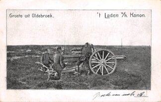 Ansichtkaart Oldebroek Groete uit 't Laden v/h Kanon Militair begin 1900 HC16359