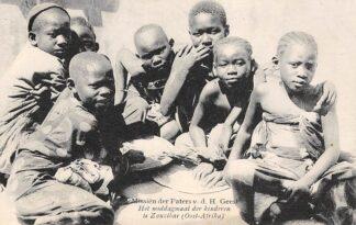 Ansichtkaart Weert Missien der Paters v.d. H. Geest Het middagmaal der kinderen te Zanzibar (Oost-Afrika) Afrika HC16429
