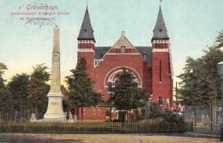 Ansichtkaart 's-Gravenhage Gedenknaald Koningin Emma en Regentesse kerk 1912 HC16469