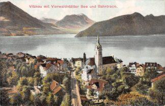 Ansichtkaart Zwitserland Vitznau mit Vierwaldstatter See Und Bahntrace Rigi Bahn Spoorwegen Schweitz Switzerland Suisse Europa HC16521