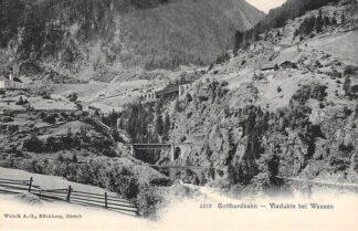 Ansichtkaart Zwitserland Gotthardbahn Viadukte bei Wassen Spoorwegen Schweiz Switzerland Suisse Europa HC16525