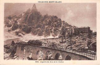 Ansichtkaart Zwitserland Chamonix Mont Blanc Aiguille du Dru et le Viaduc Stoomtrein Spoorwegen Schweiz Switzerland Suisse Europa HC16526