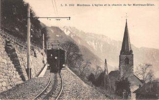 Ansichtkaart Zwitserland Montreux L'eglise et le chemin de fer Montreux Glion Trein Spoorwegen Schweiz Switzerland Suisse Europa HC16529