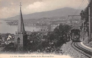 Ansichtkaart Zwitserland Montreux en le chemin de fer Montreux - Glion Trein Spoorwegen Schweiz Switzerland Suisse Europa HC16531