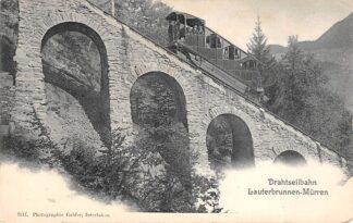 Ansichtkaart Zwitserland Drahtseilbahn Lauterbrunnen - Murren Trein Spoorwegen Schweiz Switzerland Suisse Europa HC16532