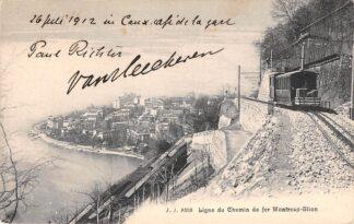 Ansichtkaart Zwitserland Ligne du chemin de fer Montreux - Glion Trein Spoorwegen 1912 Schweiz Switzerland Suisse Europa HC16533
