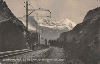 Ansichtkaart Zwitserland Bern - Lotschberg - Simplon - Banh Lotschbergbahn Linie Frutigen - Kandersteg mit den Alpen Trein Spoorwegen Schweiz Switzerland Suisse Europa HC16534