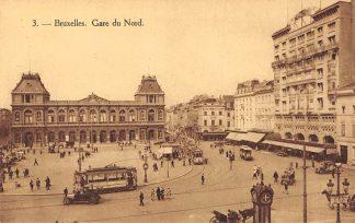Ansichtkaart Belgie Bruxelles Gare du Nord met trams en bus Station Spoorwegen Europa HC16537