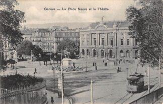 Ansichtkaart Zwitserland Geneve La Place Neuve et le Theatre Tram Schweiz Switzerland Suisse Europa HC16539