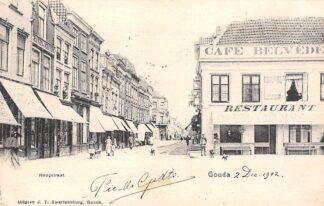 Ansichtkaart Gouda Hoogstraat hoek Markt Cafe Restaurant Belvedere 1902 Uitg. J.T. Swartsenburg HC16557