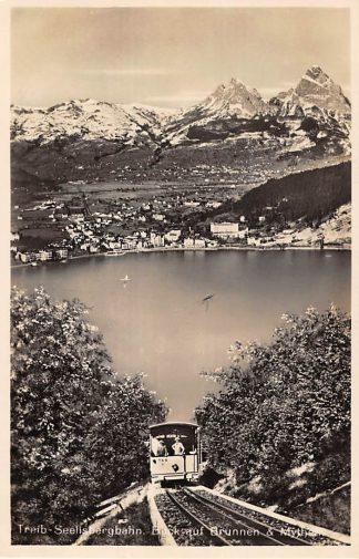 Ansichtkaart Zwitserland Treib - Seelisbergbahn Blick auf Brunnen & Mythen Trein T.S.B. 1 Spoorwegen Schweiz Switzerland Suisse Europa HC16617