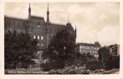 Ansichtkaart Duitsland Stettin Rathaus mit Manzelbrunnen Polen Szczezin Deutschland Polska Europa HC16715