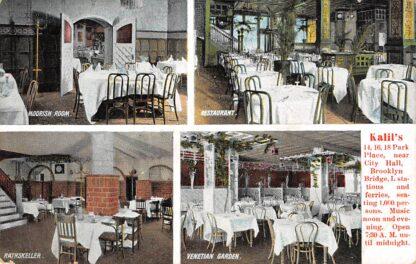 Ansichtkaart USA New York Kalil's Park Place Moorish Room Restaurant Rathskeller Venetian Garden Noord-Amerika HC16740