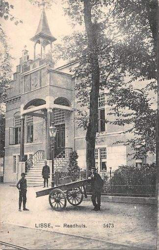 Ansichtkaart Lisse Raadhuis 1914 Handkar en veldwachter HC16757