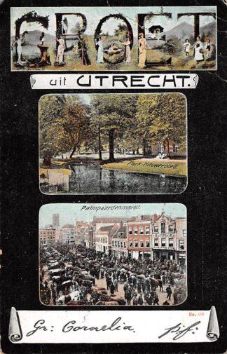 Ansichtkaart Utrecht Groet uit 1908 Park Nieuweroord Palm paarden markt HC16765