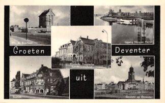 Ansichtkaart Deventer Groeten uit 1957 Mr. de Boerlaan Station Ingang Nieuwe Haven Gezicht op Deventer Middelb. Tropische Landbouw school HC16780