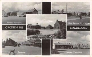Ansichtkaart Emmeloord Groeten uit 1958 Harmen Visserplein Rietstraat R.K. Kerk Herv. kerk en O.L. School HC16786