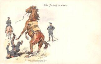 Ansichtkaart Duitsland Militair Aller Anfang is schwer Humor Illustrator C. Becker Deutschland Europa HC16870