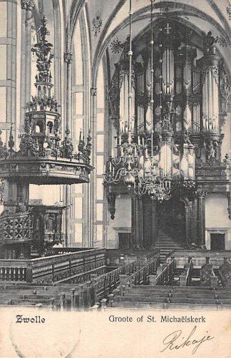 Ansichtkaart Zwolle Groote of St. Michaelskerk met preekstoel en orgel 1906 HC16884