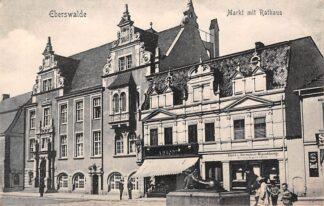 Ansichtkaart Duitsland Eberswalde Barnim Markt mit Rathaus Reclame Den Haag M. Finsy Zuidwal 32 Rijwielen Deutschland Europa HC16891