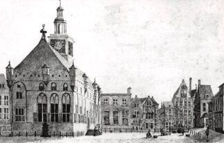 Ansichtkaart Zo was Dordrecht Stadhuis - Lombardsbrug 1776 Tekening J. Hoolaart HC16953
