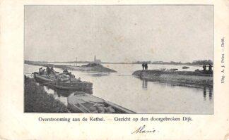 Ansichtkaart Rotterdam Kethel Overstrooming aan de Kethel Gezicht op den doorgebroken Dijk (1) HC17021