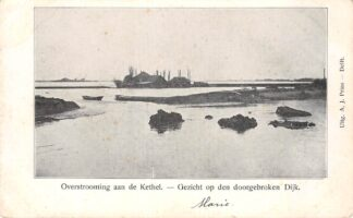 Ansichtkaart Rotterdam Kethel Overstrooming aan de Kethel - Gezicht op den doorgebroken Dijk (2) HC17022