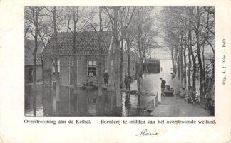 Ansichtkaart Rotterdam Kethel Overstrooming aan de Kethel - Boerderij te midden van het overstroomde weiland HC17023