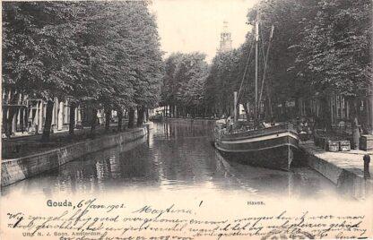 Ansichtkaart Gouda Haven met binnenvaart schip Stad Gouda 1902 HC17063