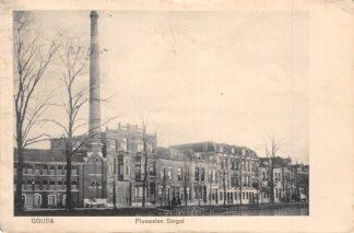 Ansichtkaart Gouda Fluweelensingel hoek Klein Amerika met Stoomwasscherij De Rijzende Zon 1913 HC17072