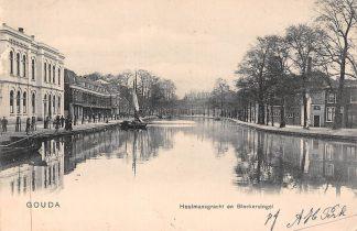 Ansichtkaart Gouda Houtmansgracht en Bleekerssingel met Ambachtsschool Kleinrondstempel Moordrecht 1905 HC17081