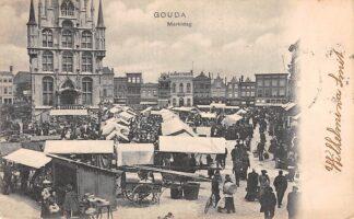 Ansichtkaart Gouda Markt Marktdag 1903 Stadhuis Straatleven HC17087