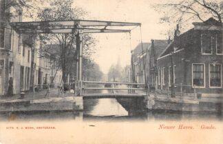 Ansichtkaart Gouda Nieuwehaven hoek Lage Gouwe 1903 HC17099