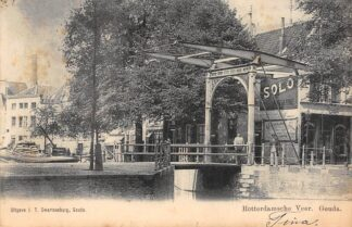Ansichtkaart Gouda Gouwe hoek Nonnenwater Rotterdamsche Veer Binnenvaart schepen Scheepvaart 1902 Swartsenburg HC17100