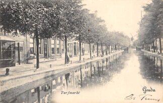 Ansichtkaart Gouda Turfmarkt vanaf Vrouwebrug 1904 Molen De Korenblom op de Vest Type Gompers HC17121