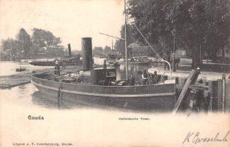 Ansichtkaart Gouda Hollandsche IJssel met sleepboot Betsy aan de Veerstal 1903 Swartsenburg Binnenvaart schepen Scheepvaart HC17133