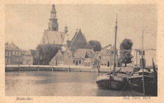 Ansichtkaart Maassluis Ned. Hervormde Kerk Stoomsleepboot Schiedam Binnenvaart schepen Scheepvaart HC17149